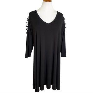Torrid Lattice Sleeve Black A Line Dress